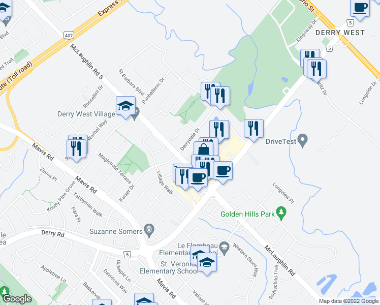 map of restaurants, bars, coffee shops, grocery stores, and more near 412 Aspendale Crescent in Mississauga