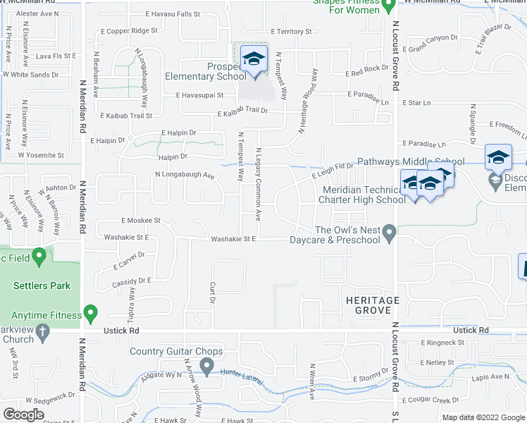 map of restaurants, bars, coffee shops, grocery stores, and more near 902 East Leighfield Drive in Meridian