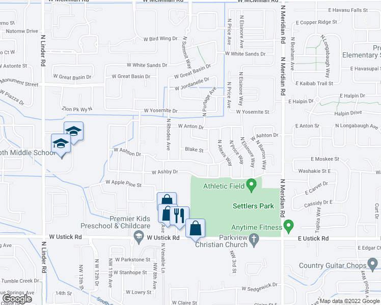 map of restaurants, bars, coffee shops, grocery stores, and more near 600 Blake Street in Meridian