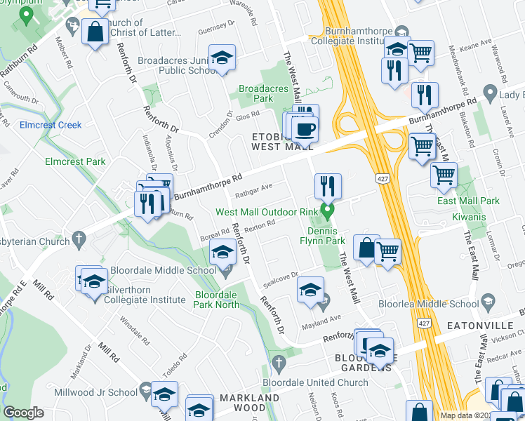 map of restaurants, bars, coffee shops, grocery stores, and more near 31 Mooreshead Drive in Toronto