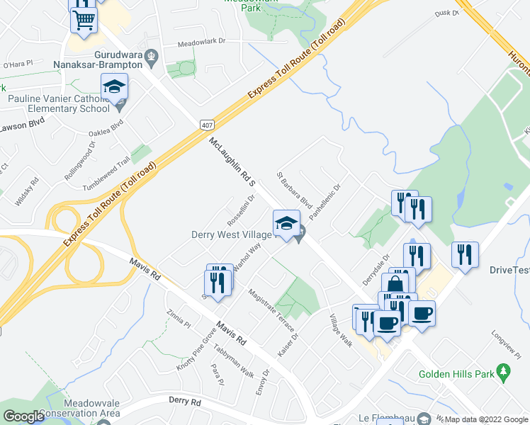 map of restaurants, bars, coffee shops, grocery stores, and more near 515 Matisse Place in Mississauga
