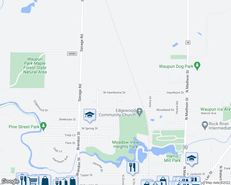map of restaurants, bars, coffee shops, grocery stores, and more near West Hawthorne Drive in Waupun