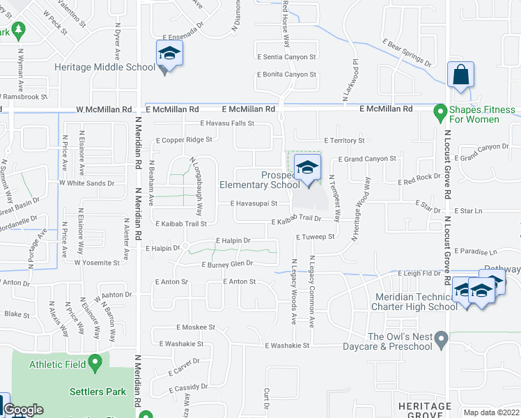map of restaurants, bars, coffee shops, grocery stores, and more near 607 East Havasupai Street in Meridian
