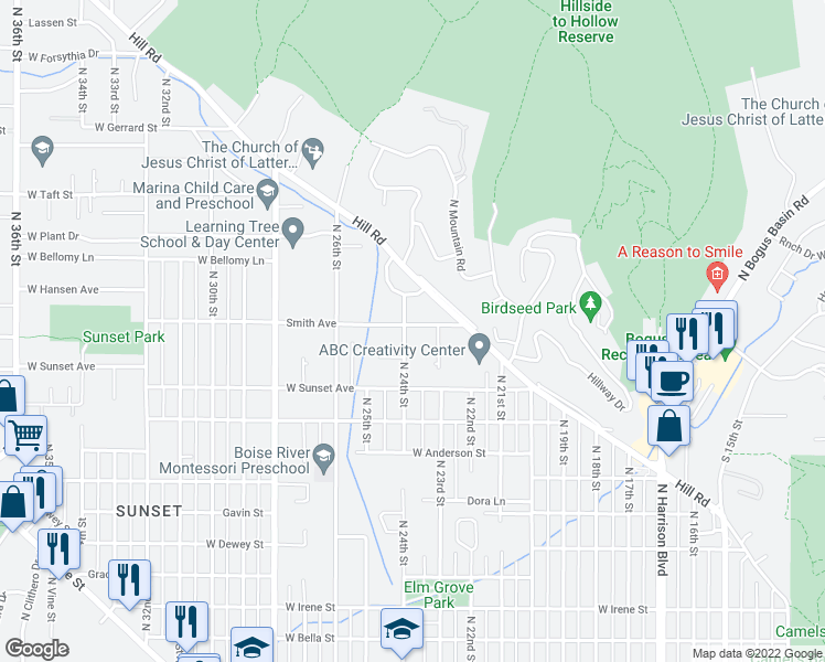 map of restaurants, bars, coffee shops, grocery stores, and more near 2317 Smith Avenue in Boise