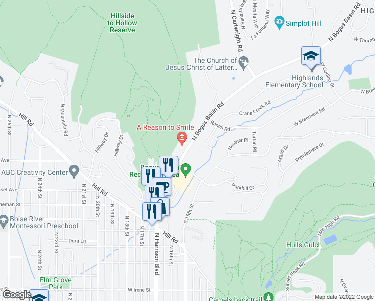 map of restaurants, bars, coffee shops, grocery stores, and more near 2814 North Bogus Basin Road in Boise