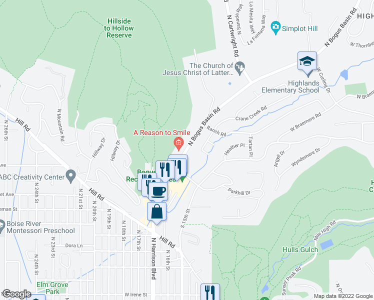 map of restaurants, bars, coffee shops, grocery stores, and more near 2800 North Bogus Basin Road in Boise