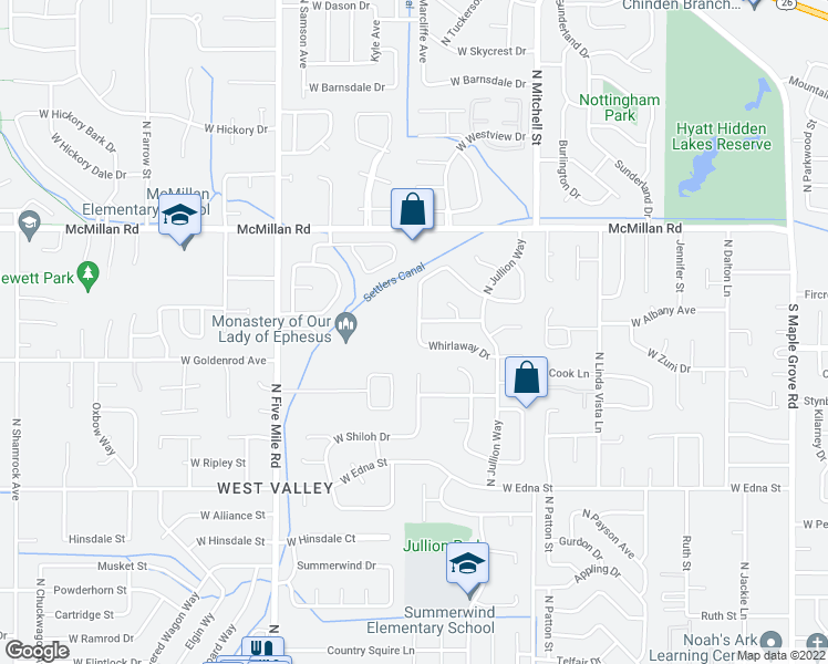 map of restaurants, bars, coffee shops, grocery stores, and more near 4487 North Marcliffe Way in Boise