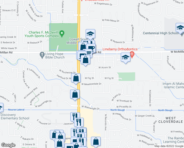 map of restaurants, bars, coffee shops, grocery stores, and more near 13613 West Rochester Street in Boise