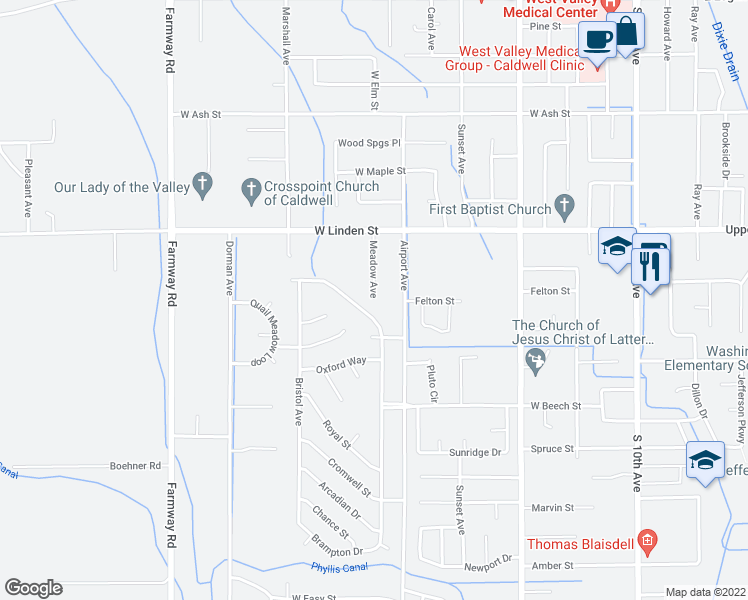 map of restaurants, bars, coffee shops, grocery stores, and more near Meadow Ave in Caldwell