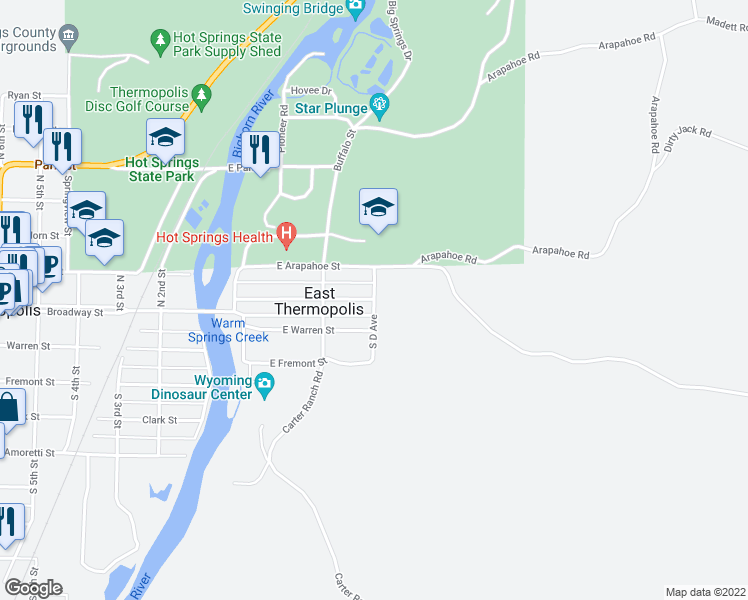 map of restaurants, bars, coffee shops, grocery stores, and more near 103 South D Avenue in Thermopolis