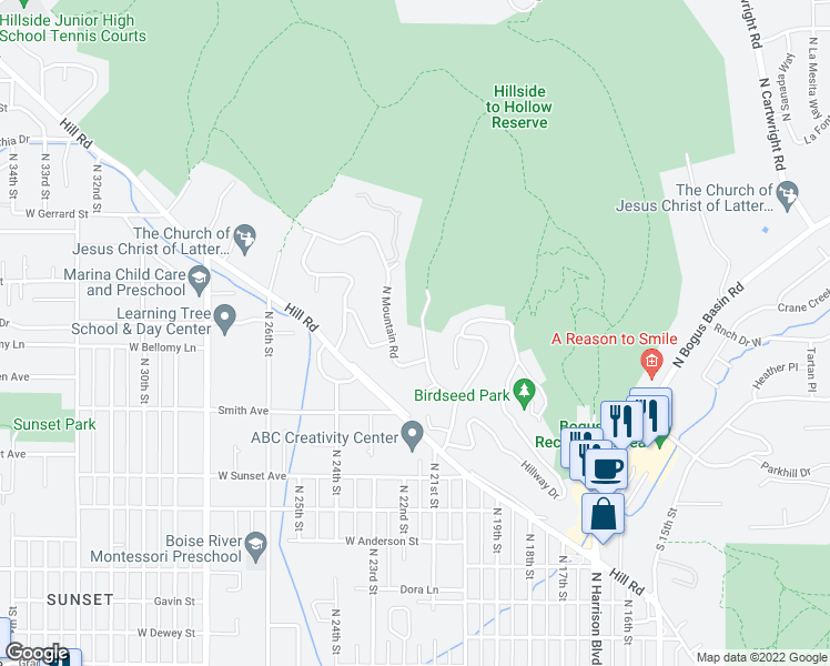 map of restaurants, bars, coffee shops, grocery stores, and more near 3029 Lancaster Drive in Boise