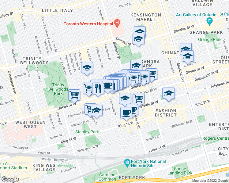 Map Of Restaurants Bars Coffee Shops Grocery Stores And More Near 632