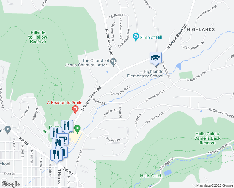 map of restaurants, bars, coffee shops, grocery stores, and more near Crane Creek Road in Boise