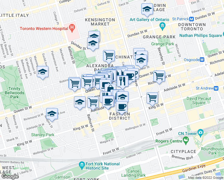map of restaurants, bars, coffee shops, grocery stores, and more near 511 Richmond Street West in Toronto