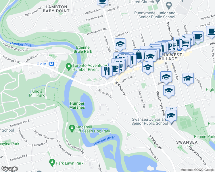 map of restaurants, bars, coffee shops, grocery stores, and more near in Toronto