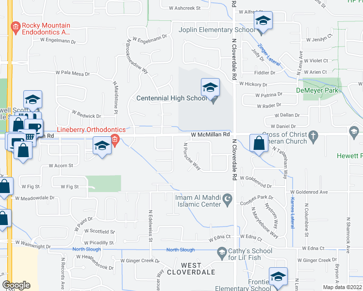 map of restaurants, bars, coffee shops, grocery stores, and more near 4741 North Porsche Way in Boise