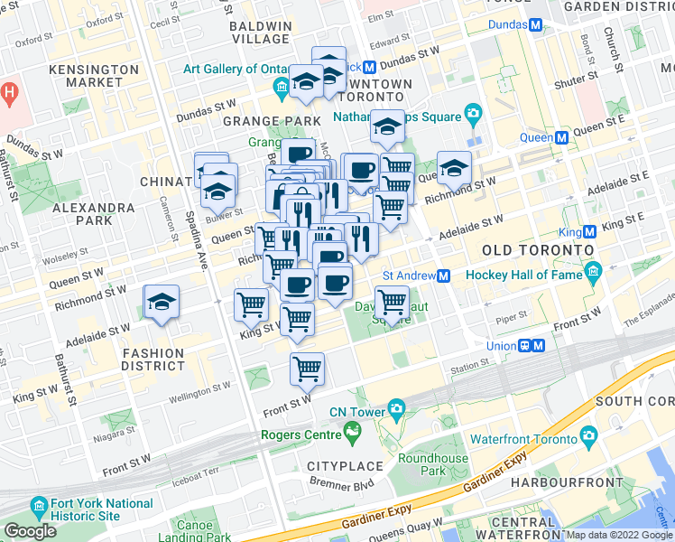 map of restaurants, bars, coffee shops, grocery stores, and more near 283 Adelaide Street West in Toronto