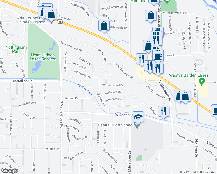 map of restaurants, bars, coffee shops, grocery stores, and more near 8415 West Crestwood Drive in Boise