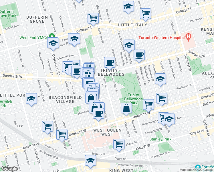 map of restaurants, bars, coffee shops, grocery stores, and more near 249 Shaw Street in Toronto