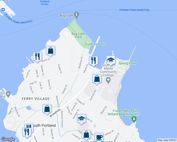 map of restaurants, bars, coffee shops, grocery stores, and more near 148 Breakwater Drive in South Portland