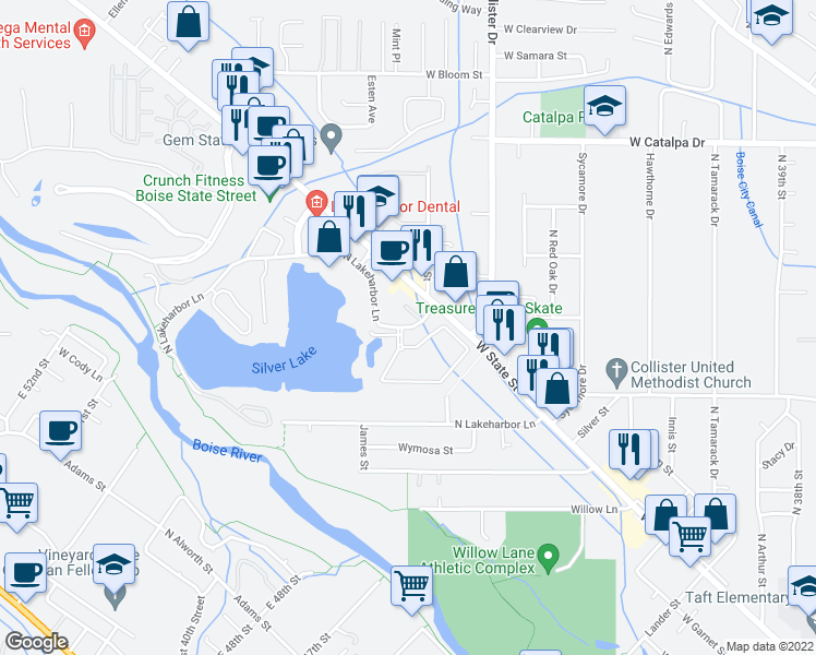 map of restaurants, bars, coffee shops, grocery stores, and more near 3316 North Lakeharbor Lane in Boise
