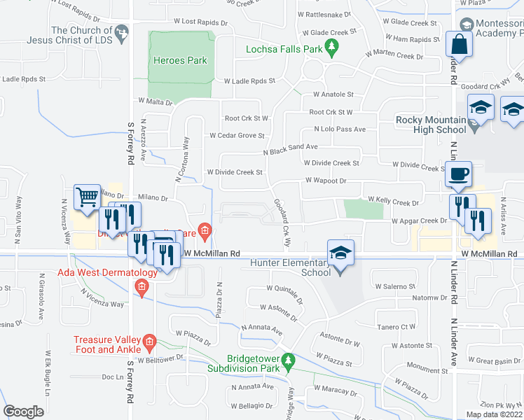map of restaurants, bars, coffee shops, grocery stores, and more near 2552 West Selway Rapids Lane in Meridian