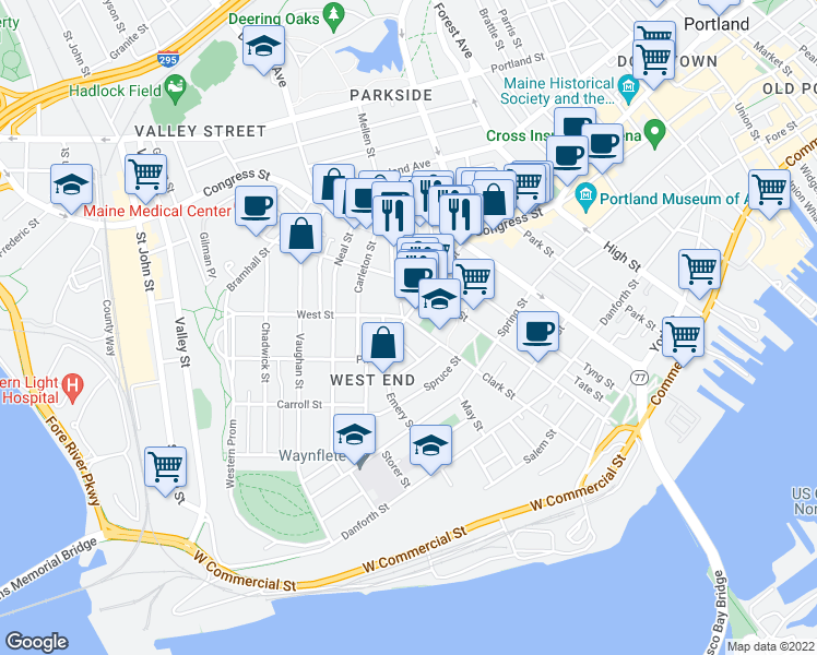 map of restaurants, bars, coffee shops, grocery stores, and more near 72 Pine Street in Portland