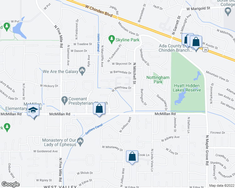 map of restaurants, bars, coffee shops, grocery stores, and more near 5000 Glenbrook Drive in Boise