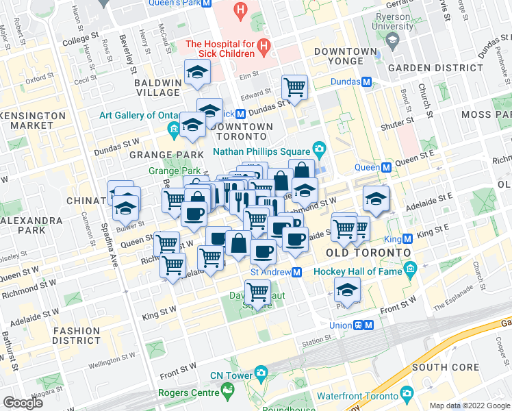 map of restaurants, bars, coffee shops, grocery stores, and more near Queen Street West & Simcoe Street in Toronto