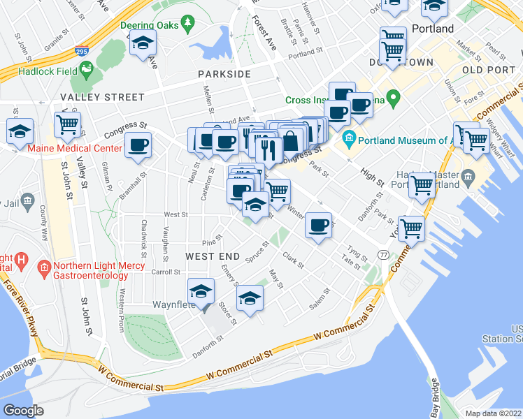 map of restaurants, bars, coffee shops, grocery stores, and more near Brackett Street in Portland