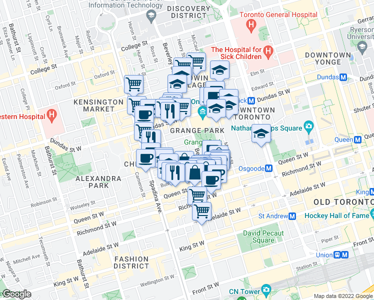map of restaurants, bars, coffee shops, grocery stores, and more near 4 Sullivan Street in Toronto