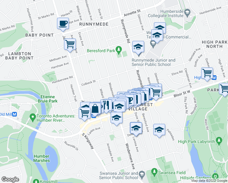 map of restaurants, bars, coffee shops, grocery stores, and more near 515 Windermere Avenue in Toronto