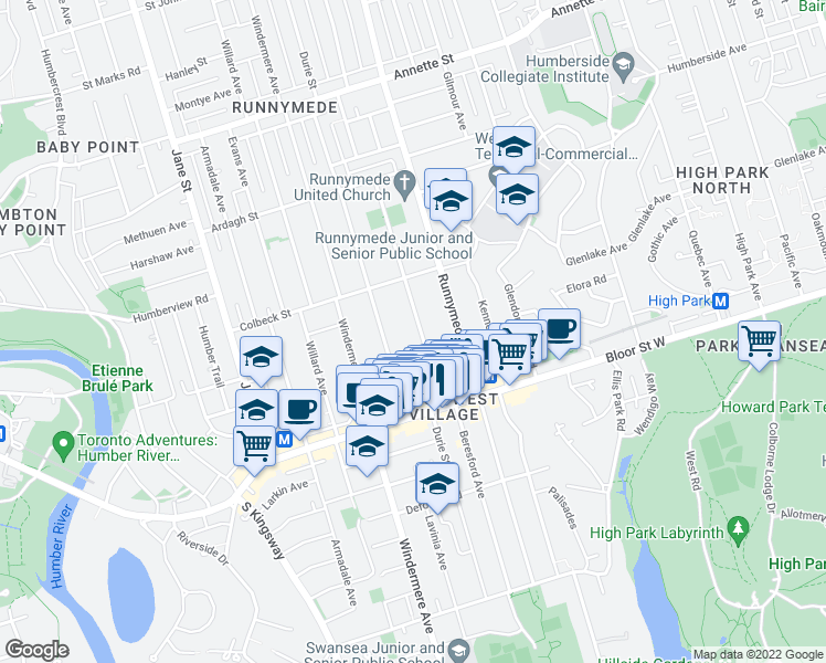 map of restaurants, bars, coffee shops, grocery stores, and more near 314 Beresford Avenue in Toronto