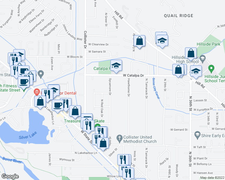 map of restaurants, bars, coffee shops, grocery stores, and more near 3706 Sycamore Drive in Boise