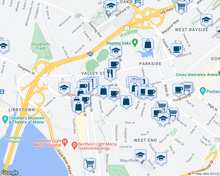 map of restaurants, bars, coffee shops, grocery stores, and more near 25 Crescent Street in Portland