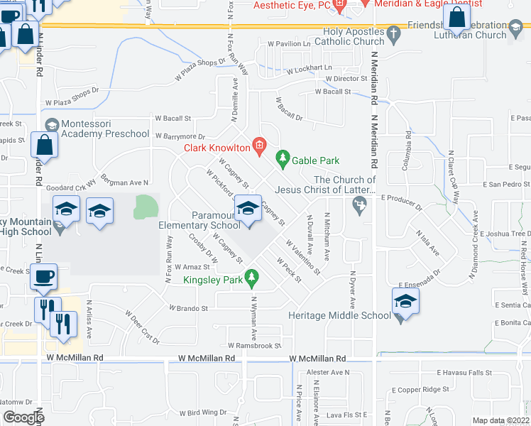 map of restaurants, bars, coffee shops, grocery stores, and more near 485 West Valentino Street in Meridian