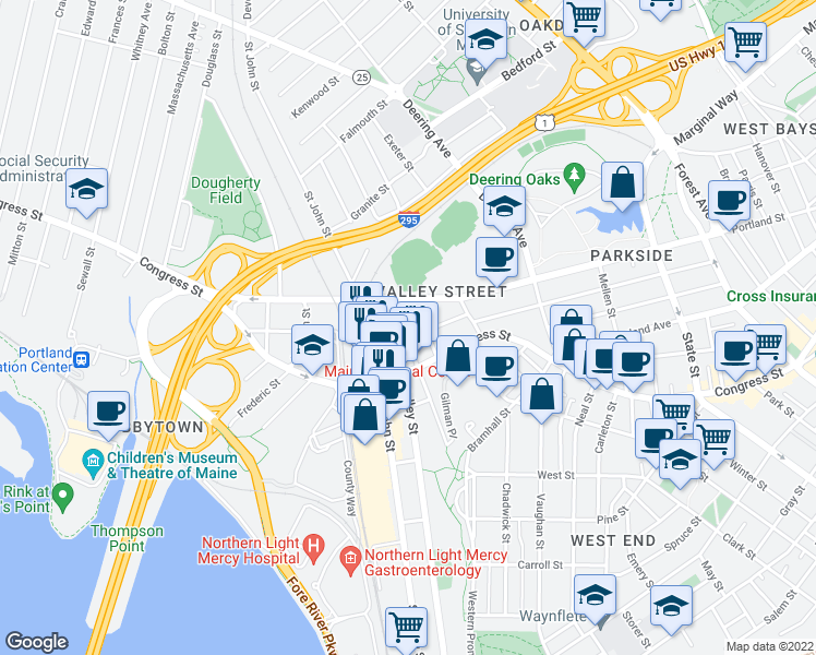 map of restaurants, bars, coffee shops, grocery stores, and more near 101 Gilman Street in Portland