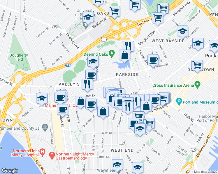 map of restaurants, bars, coffee shops, grocery stores, and more near 130 Grant Street in Portland