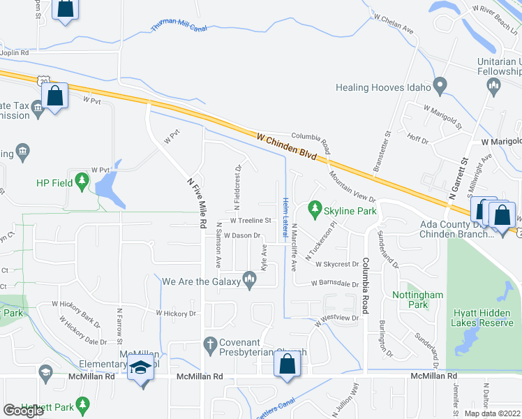 map of restaurants, bars, coffee shops, grocery stores, and more near 10311 West Dover Heights Court in Boise