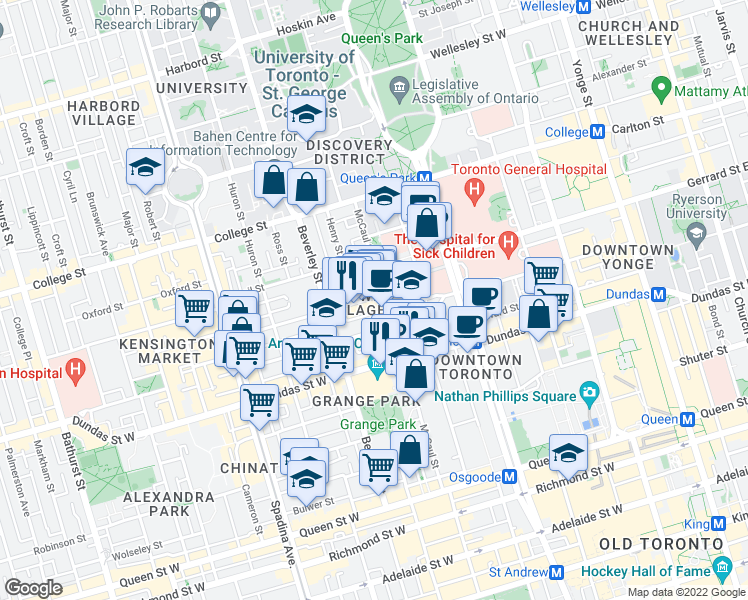 map of restaurants, bars, coffee shops, grocery stores, and more near 9 Baldwin Street in Toronto