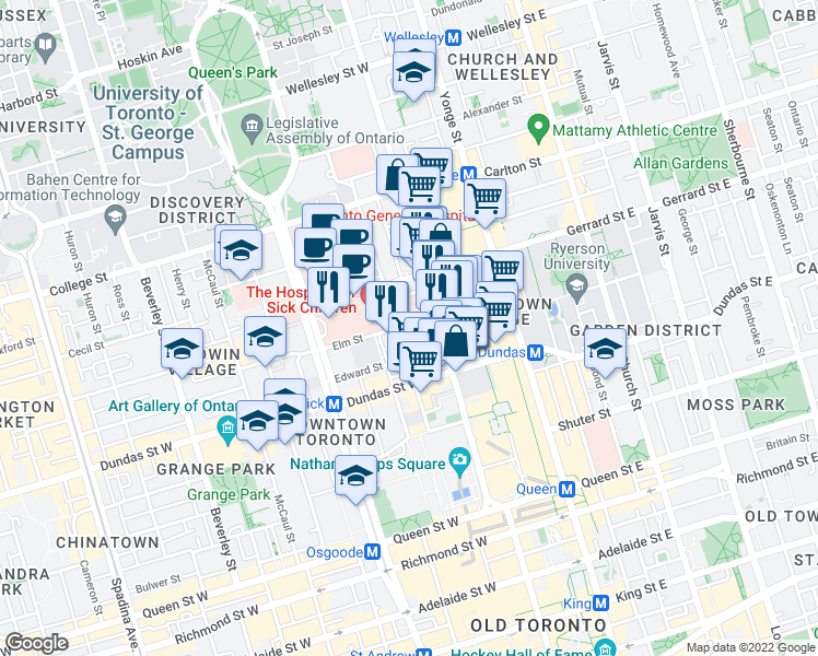map of restaurants, bars, coffee shops, grocery stores, and more near 77 Elm Street in Toronto