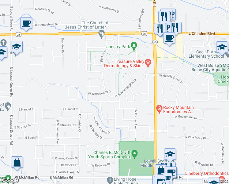 map of restaurants, bars, coffee shops, grocery stores, and more near 5800 North Rothmans Avenue in Boise