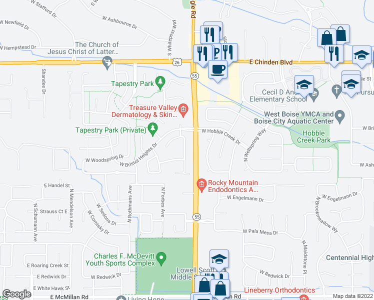 map of restaurants, bars, coffee shops, grocery stores, and more near 5774 North Parchment Avenue in Boise