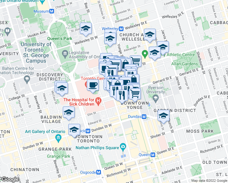 map of restaurants, bars, coffee shops, grocery stores, and more near 717 Bay Street in Toronto