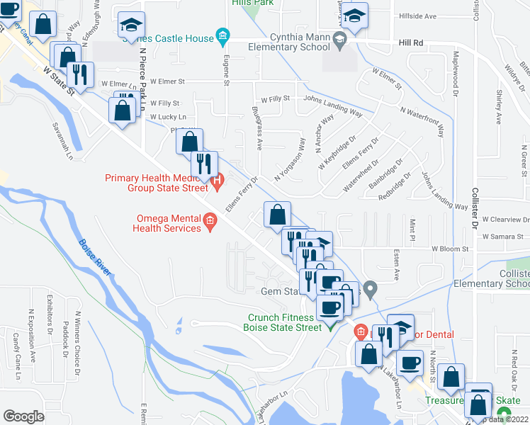map of restaurants, bars, coffee shops, grocery stores, and more near 5800 West Clearview Lane in Boise