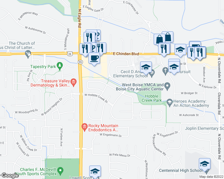 map of restaurants, bars, coffee shops, grocery stores, and more near 5956 North Brooklet Place in Boise