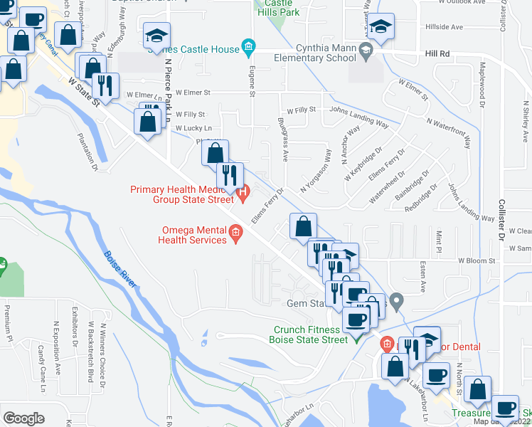 map of restaurants, bars, coffee shops, grocery stores, and more near 4277 North Yorgason Lane in Boise