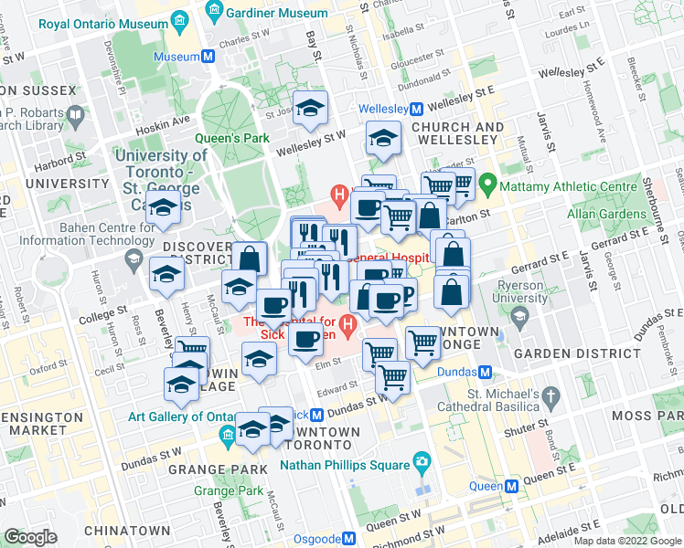 map of restaurants, bars, coffee shops, grocery stores, and more near 101 College Street in Toronto