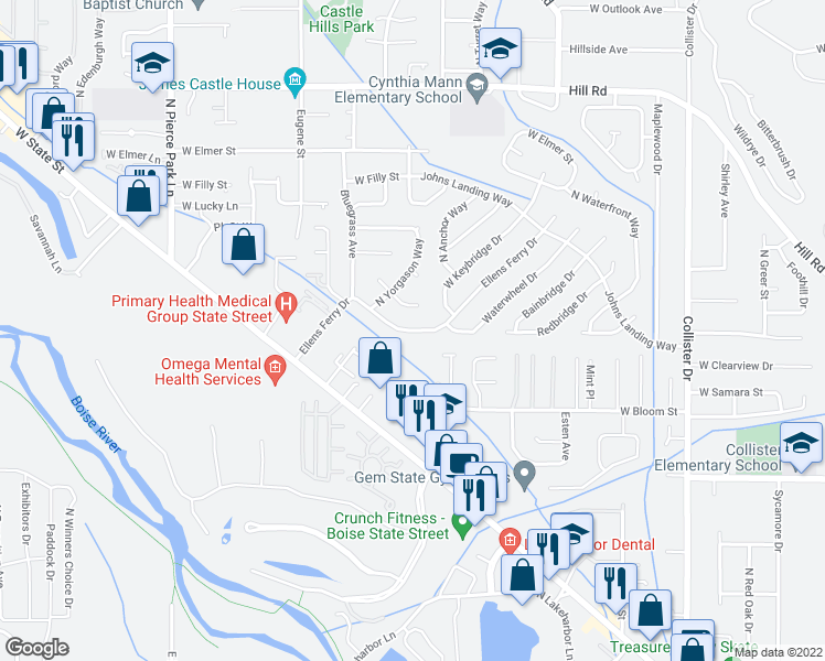 map of restaurants, bars, coffee shops, grocery stores, and more near 5614 West Bloom Street in Boise