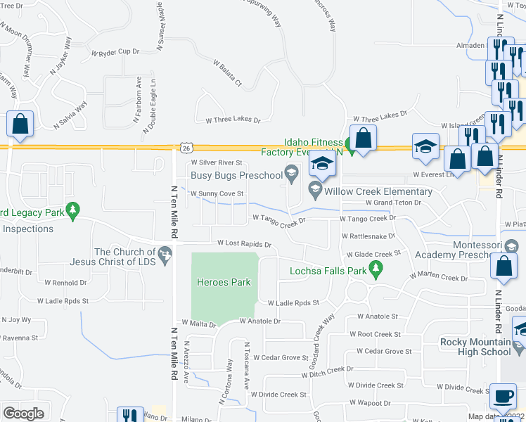 map of restaurants, bars, coffee shops, grocery stores, and more near 2770 West Tango Creek Drive in Meridian